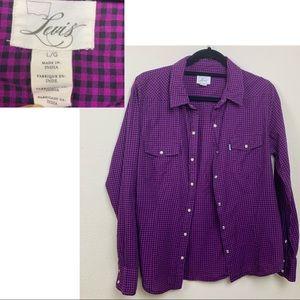 LEVI'S Gingham Plaid Pearl Snap Button Shirt